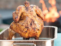 Beer can chicken. The secret to this tender chicken is simple: while it becomes crisp outside, the beer in the cavity gently steams the meat. Beer Can Chicken, Canned Chicken, Yum Yum Chicken, South African Dishes, South African Recipes, Ethnic Recipes, Braai Recipes, Cooking Recipes, Chicken Parmesan Casserole