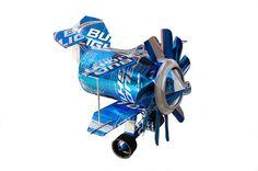 Whirlygig Recycled Aluminum Can Artplane  RACE by rigorshanger
