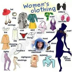 Women's clothing - #Vocabulary #English