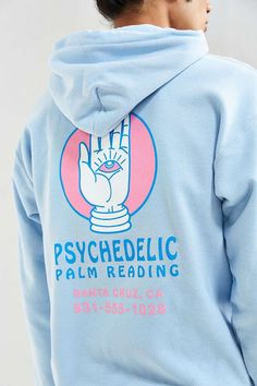 Santa cruz Psychedelic Palm Reader Hoodie Sweatshirt// blue& pink// size small