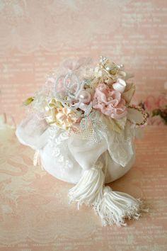 Embellished ribbon work sachet by Jennelise Rose