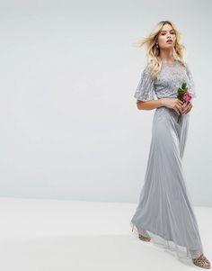 Asos Wedding Embellished Lace Insert Flutter Sleeve Maxi Dress