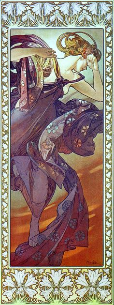 Alphonse Mucha and all of his glorious art nouveau pieces. Art Nouveau, I think is perfect for depicting graceful beautiful fairytale men an women. Mucha Art Nouveau, Alphonse Mucha Art, Art Nouveau Poster, Art And Illustration, Jugendstil Design, Graphisches Design, Kunst Poster, Belle Epoque, Love Art