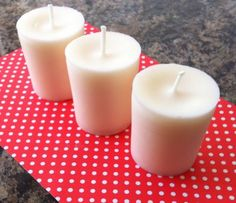Set Of Three Handmade Votive Candles In Baby Powder Scent 15 Hour Burn Time Each