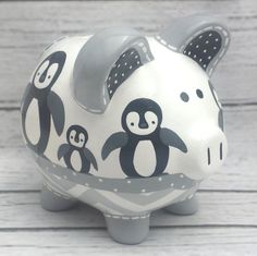 Artisan hand painted ceramic personalized piggy by Alphadorable