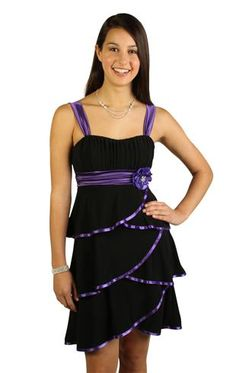 tiered dress with contrast satin trim