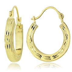 Mondevio 14K Gold 2.6mm Square Tube Diamond-Cut Hoop Earrings 25mm