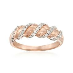 .34 ct. t.w. Diamond Ribbon Ring in 14kt Rose Gold