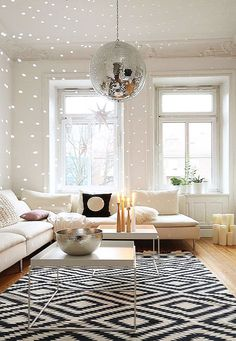 large disco ball hung by chain in modern living room. / sfgirlbybaylarge disco ball hung by chain in modern living room. Living Room White, White Rooms, Rugs In Living Room, Home And Living, Living Room Designs, Living Room Decor, Modern Living, Interior Exterior, Interior Design