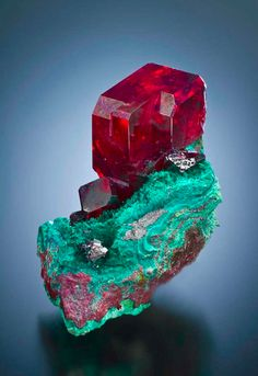 Cuprite on Malachite - both copper based minerals of extremely different colours!
