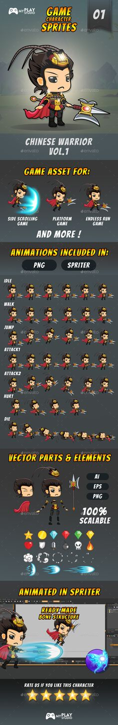 Chinese Warrior 2D Game Character Sprites - Sprites Game Assets