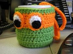 TMNT crochet mug cozy! This may even make me try to find my crochet hooks!