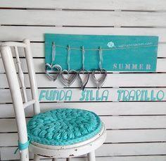 Holster saddle chair with crochet XL in pop corn Crochet Home, Love Crochet, Diy Crochet, Crochet Stitches, Crochet Patterns, Cotton Cord, Pop Corn, Crochet T Shirts, Crochet Decoration