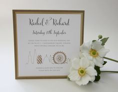 Ivy Ellen's brand new London Skyline postcard wedding invitation in Gold #weddinginvitation #londonwedding #weddingstationery #goldwedding #skyline