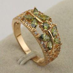 Size 68 Elegant Green Peridot Fashion Jewelry Yellow Gold Filled Ring Rj1810
