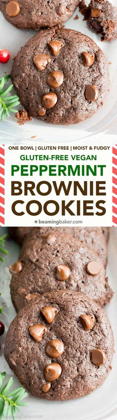 Gluten Free Peppermint Brownie Cookies Recipe (V, GF): a one bowl recipe for soft, decadent and fudgy brownie cookies (aka brookies) bursting with cool peppermint flavor and melted chocolate chips. Brownie Cookies, Soft Chocolate Chip Cookies, Yummy Cookies, Melted Chocolate, Chocolate Chips, Gluten Free Cookie Recipes, Gluten Free Baking, Gluten Free Desserts, Vegan Recipes
