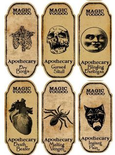 Halloween 6 Large Magic Voodoo Apothecary Bottle Labels Stickers Crafts | eBay