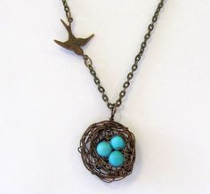 Bird's Nest Necklace, Brass nest with Howlite Eggs, Birthstone Necklace. This necklace is completely customizable by Andi Danie Designs on  Etsy.    #UmbaLoves #Handmade