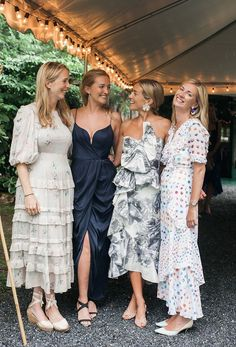 """Me and my amazing three sisters at my rehearsal dinner. I wore a Marchesa dress, Rebecca De Ravenel earrings, and Manolo heels."""" - Over The Moon Holiday Skirts, Dress Me Up, Dress To Impress, Wedding Inspiration, Wedding Dresses, Printed Bridesmaid Dresses, Fashion Outfits, Abraham Lincoln, Mountains"""