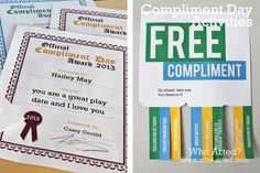 Free (Printable) Compliment Day Activities! Great for teachers, little ones and everyone who likes a compliment! (National Compliment Day is January 24th)