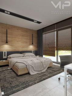 INTERIOR | Dom w Rudach - Średnia sypialnia małżeńska z balkonem / tarasem, styl nowoczesny - zdjęcie od Manufaktura Projektów - homebook