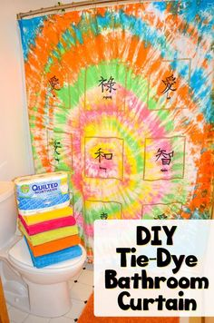 Tie-Dye Shower Curtain Tutorial AD - Learn how easy and fun it is to tie-dye a shower curtain or large piece of fabric.