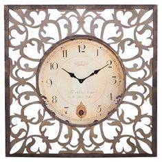 Distressed metal wall clock with openwork frame.  Product: ClockConstruction Material: MetalAccommodates:...