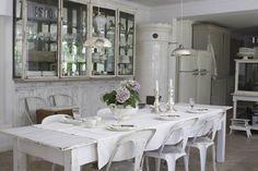 Swedish dining, Skonahem - dining rooms - tin, pendants, white, washed, dining table, white, Tolix, marais, chairs, white washed table, white washed dining ...