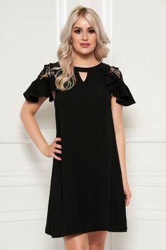Reduceri rochii -70% - preturi reduse - Rochii Romania Short Sleeve Dresses, Dresses With Sleeves, Cold Shoulder Dress, Shirt Dress, Outfit, Shirts, Shopping, Black, Fashion