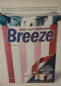 Breeze detergent with a free towel in every box.