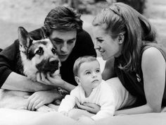 0 alain delon, wife Nathalie and son Anthony with their german shepherd