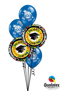 "Just change the ""Class of 2013"" latex balloons in this #graduation bouquet to coordinate with the grad's school colors. Click through for more bouquet ideas!"