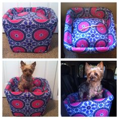 DIY dog car seat! •1 square clothes hamper •1 fleece blanket •2 throw pillows •leash •hot glue gun •scissors ___________________________________•Cut fleece blanket/fabric to cover the clothes hamper completely. •Hot glue the inside perimeter of the hamper and wrap blanket/fabric around it. •After completely gluing to hamper, cut out two holes in the back of the hamper for the seat belt to feed through. •Stack two throw pillows inside the hamper and cover the top of the pillows with extra…