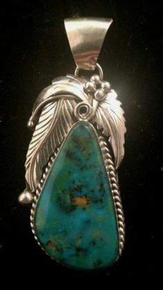 Beautiful Navajo Handmade Kingman Turquoise Pendant Set in Sterling Silver | eBay