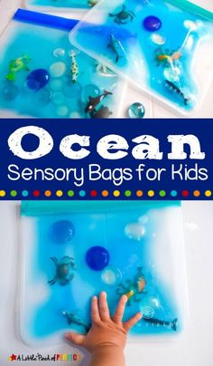 This quick and easy sensory bag is a hands-on way to learn about ocean animals while having fun! This is great for toddlers, preschoolers, and older kids will love it, too. Easy instructions will help your kids enjoy some under the sea fun in no time. Sensory Activities Toddlers, Sensory Bags, Infant Activities, Toddler Preschool, Preschool Activities, Ocean Activities, Sensory Bottles, Baby Activity, Ocean Crafts
