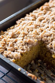 Pumpkin, spice & everything nice come together in this easy Pumpkin Coffee Cake with streusel topping. Made with sour cream so it's super moist - this pumpkin crumb cake is perfect for fall! Coffee Recipes, Pumpkin Recipes, Fall Recipes, Pumpkin Dishes, Yummy Recipes, Pumpkin Coffee Cakes, Pumpkin Dessert, Delicious Desserts, Dessert Recipes