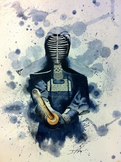 Kendo Watercolor by Hernysite on DeviantArt Kendo, Samurai Tattoo, Samurai Art, Aikido, Martial, Marshal Arts, Shotokan Karate, Japanese Sword, Japan Art