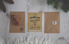 Rustic-retro wedding invitation for winter wedding / Natúr retro hangulatú esküvői meghívó téli esküvőre.