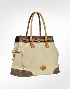 La Martina Amelita Canvass - Large Canvas and Leather Tote | FORZIERI