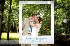 This couple made a DIY Photo Booth for their wedding at Wildwood. What a creative and fun way to engage your guests. #DIY #photobooth #bride #groom #wedding