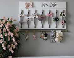Brand New Listing! XL Personalized Hair Bow Holder Headband Organizer Turn you daughters bow collection into a work of art with this original, handmade organizer. Its the perfect way to both organize and display your bows and headbands beautifully in any Girl Nursery, Girl Room, Nursery Decor, Baby Bows, Baby Headbands, Bow Board, Baby Nursery Organization, Organization Ideas, Hair Bow Organization