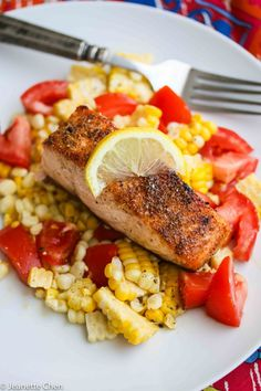 Spice Rubbed Roast Salmon © Jeanette's Healthy Living #easy #dinner #recipe #healthy #salmon #fish #seafood