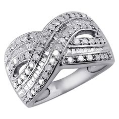 1.00 CT. T.W. Round and Baguette-Cut White Diamond Ring