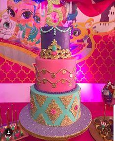 Ideas para Cumpleaños: 80 ideas para decorar cumple de Shimmer y Shine Aladdin Birthday Party, Aladdin Party, Birthday Party Themes, Shimmer And Shine Decorations, Shimmer And Shine Cake, Jasmin Party, Princess Jasmine Party, Arabian Party, Arabian Nights Party