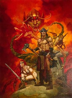 Conan and Red Sonja, in Steven Filosa's Paintings Comic Art Gallery Room Red Sonja, Fantasy Sword, Fantasy Warrior, Fantasy Kunst, Dark Fantasy Art, Fantasy Paintings, Fantasy Artwork, Larp, Conan Der Barbar
