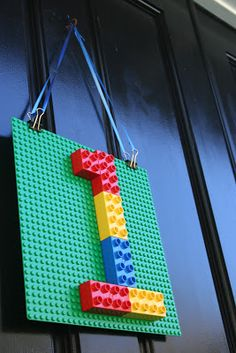 First Birthday: Easy, Simple Lego Door Hanger (instead of welcome sign or wreath!)