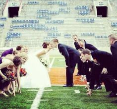 Want to do this so bad! Football wedding !!!  Omg totally doing this whenever I find a guy to actually marry :-))