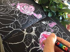 flowerDrawing on black paper, Art Journal Sketch Book Journal Visual Diary Visual Journal, artjournal, pencildrawing ,illustration #sketch #drawing, fashiondrawing
