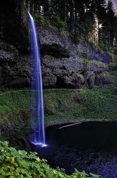 Silver Falls State Park.Rising Sun at South Falls, Oregon, USA. by bern harrison.