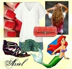 Outfit casual, Ariel, encuentra más ideas en... http://www.1001consejos.com/outfits-al-estilo-disney/ #1001consejos #disney #moda